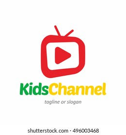 kids children channel logo icon template stock vector royalty free