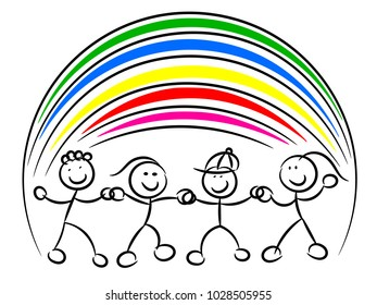 Kids or children hand in hand rainbow isolated on white