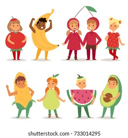 Kids children party fruits costume vector cartoon mask and dress festive boys and girls fancy childhood kid Christmas party characters illustration isolated on white