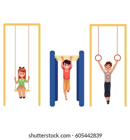Kids, children at playground, hanging on monkey bars, gymnastic rings, swinging on swings, cartoon vector illustration isolated on white background. Set of kids, children having fun at playground