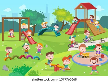 kids children playing playground vector illustration