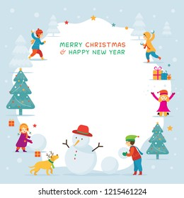 Kids or Children Playing Snow, Frame, Christmas, Winter and New Year Celebration