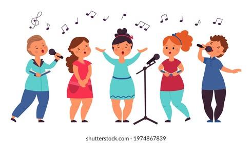 Kids choir. Cute singing kid, vocal art girl singer. Cartoon musical children concert, song show. Isolated music band decent vector characters