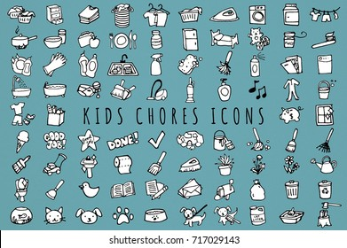 Kids Chores Icons Set Black and White - Hand Drawn Daily Tasks Clip Art Icons for Kids & Toddlers