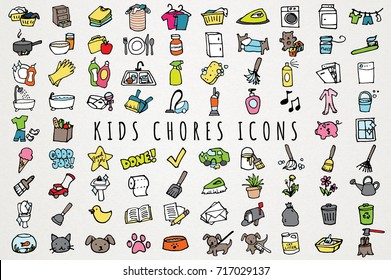 Kids Chores Icons Set - Hand Drawn Daily Tasks Clip Art Icons for Kids & Toddlers