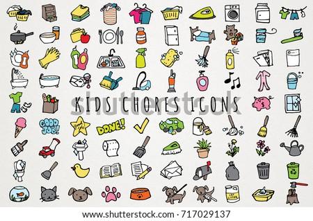 Kids Chores Icons Set Hand Drawn Stock Vector Royalty Free