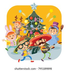 Kids Christmas party with cheerful boys and girls in fancy dresses, dancing around New Year tree, vector cartoon illustration. Children in masquerade costumes having fun at xmas carnival