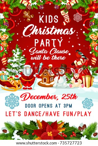kids christmas party invitation poster template stock vector