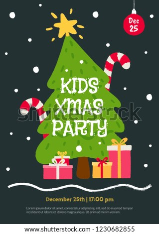 kids christmas party invitation template flat stock vector royalty