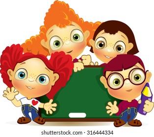 kids in classroom. education icon. cartoon kid in school
