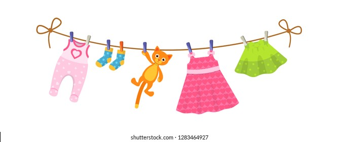 Kids clothes on clothesline. Drying children's clothes and accessories after washing on a rope. Baby clothes for newborn girl infant. Romper, socks, dress, kid skirt, plush cat. Vector cartoon.