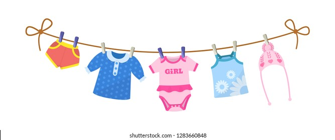 Kids clothes on clothesline. Drying children's clothes and accessories after washing on a rope. Baby clothes for newborn girl infant. Shorts, blouse, body, kid shirt, knitted hat. Vector cartoon.