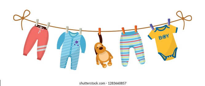 Kids clothes on clothesline. Drying children's clothes and accessories after washing on a rope. Baby clothes for newborn boy infant. Pants, romper, body, kid pajamas, plush dog. Vector cartoon.