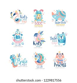Kids club and babe toyshop logo design set, badges with cute animals and birds can be used for baby shop, education center, kids market and any other children projects vector Illustration