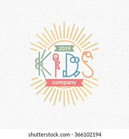 Kids club, company conceptual symbol with cute line letters. Logotype for toys, kindergarten, day nursery, festival, party.