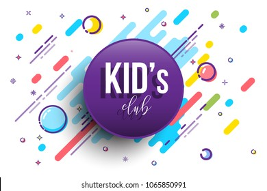 Kids Club horizontal banner template. Vector colorfull illustration.