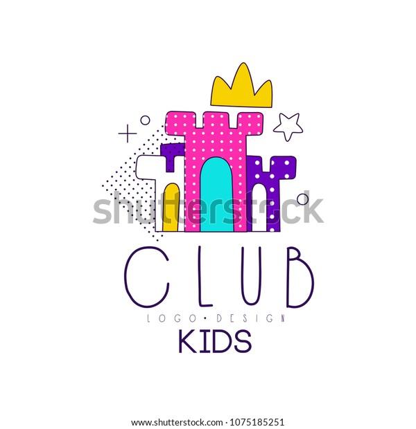 Kids Club Logo Design Element Development Stock Vector Royalty
