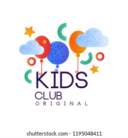 Kids club logo original, creative label template, playground, entertainment or educational club badge with colorful balloons vector Illustration isolated on a white background.