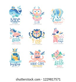 Kids club and toyshop logo design set, emblems with cute animals can be used for baby shop, education center, kids market, kindergarten and any other children projects vector Illustration
