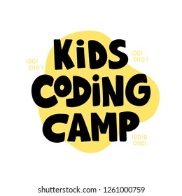 Kids coding camp- hand drawn lettering. Concept of coding for children. Vector illustration on yellow background