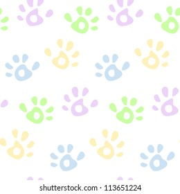 Kids colorful hand prints seamless pattern