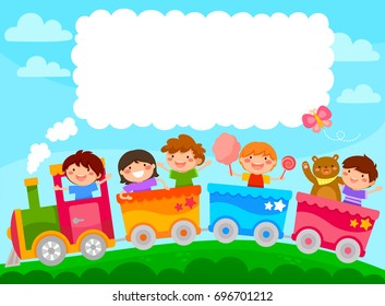 Kids in a colorful train with space for text