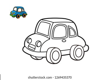 kids coloring book, car cartoon vector
