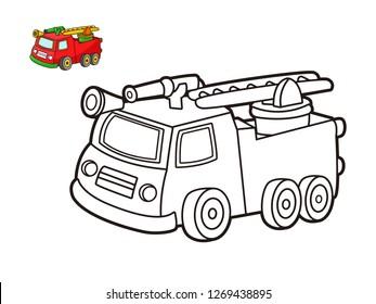 kids coloring book, cartoon vector fire engine