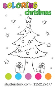 Kids Coloring Book Christmas Tree Painting Stock Vector Royalty Free 1152129677