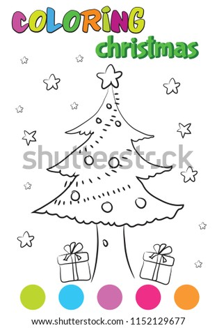 Kids Coloring Book Christmas Tree Painting Stock Vector Royalty