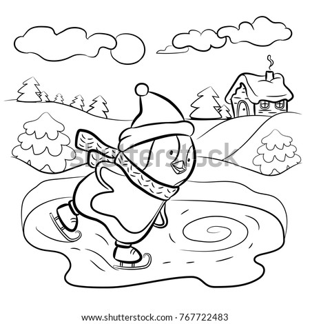 Kids Coloring Page Penguin Ice Skater Vector Illustration
