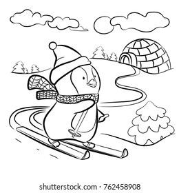 Kids coloring page. Penguin on skis vector illustration.