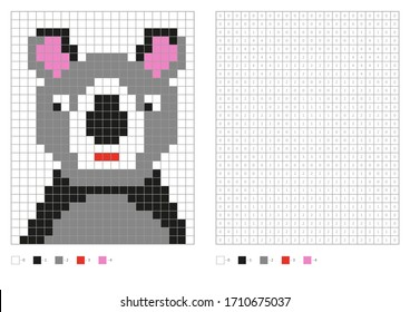 Kids coloring page, pixel coloring cartoon koala. Vector illustration