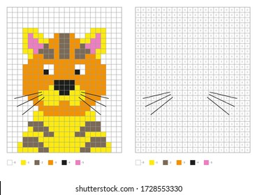 Kids coloring page, pixel coloring cartoon cat. Vector illustration