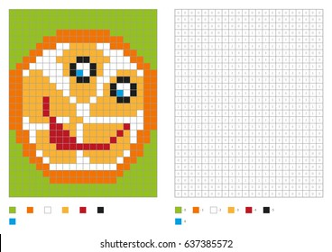 Kids coloring page, pixel coloring with funny orange. Vector illustration