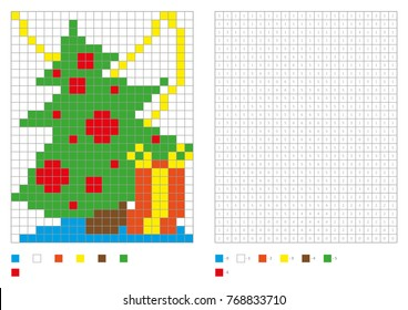Kids coloring page, pixel coloring with funny christmas tree. Vector illustration