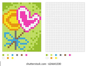 Kids coloring page, pixel coloring with numbered squares. Two lollipops. Vector illustration