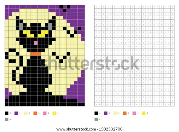 Kids Coloring Page Pixel Coloring Scary Stock Vector Royalty Free