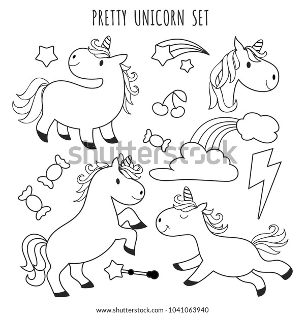 Kids Coloring Page Unicorn Set Coloring Stock Vector (Royalty Free)  1041063940