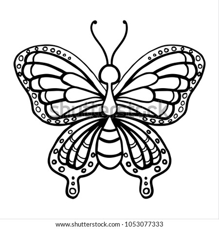 Kids Coloring Pages Butterfly Stock Vector (Royalty Free) 1053077333 ...