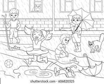 Child Playing In Rain Images Stock Photos Vectors