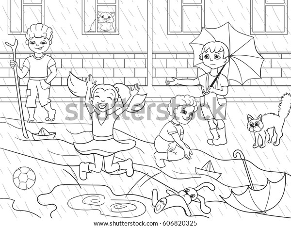 Kids Coloring Vector Children Playing Rainy Stock Vector