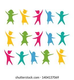 kids concept vector illustration icon design Logo Template