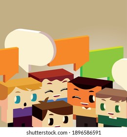 kids conversation with speech bubble, isometric style vector illustration