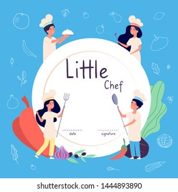 Kids cook background. Kids cooks background. Children in chef hat cooking food in kitchen. Culinary vector concept. Kids chef cook, course of diploma culinary illustration