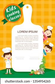 Kids Cooking class certificate design template.Cute little chef cooking meal menu ,poster,banner template.Kids enjoys with vegetables background.