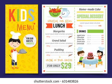 Kids cooking illustration menu with flat artwork doodle style children cook characters and editable menu items vector illustration