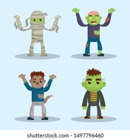 kids costumes happy halloween party celebration vector illustration