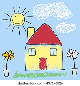 Kids Crayon Drawing of Sunny Day House