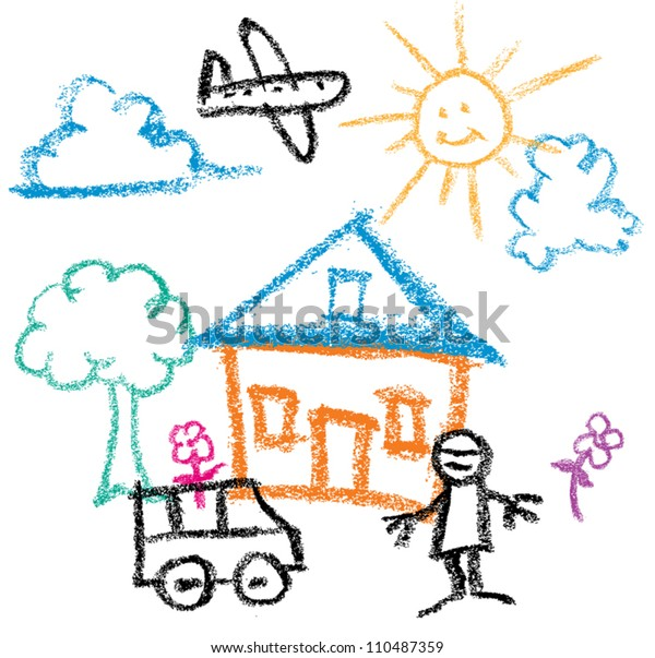 Kids Crayon Drawing Sunny Day House Stock Vector (Royalty ...